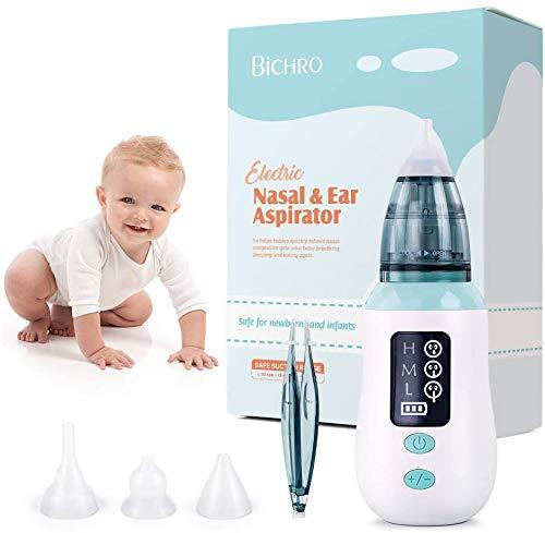 Aspirador nasal, limpiador de nariz de carga USB Bichiro con 3 niveles de succión, removedor de cera para los oídos con 4 boquillas reutilizables para bebés y niños pequeños