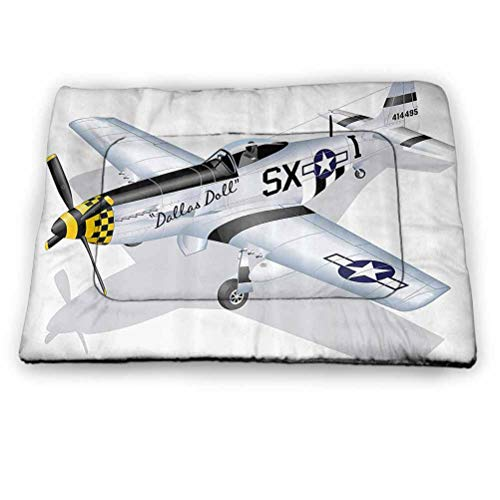 Pet Mat Bed Vintage Airplane Waterproof and Warm Pet Mattress P-51 Dallas Doll Detailed Illustration American Air Force Classic Plane Multicolor Size 35'x23'