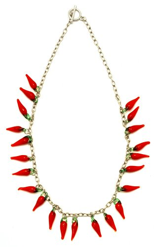 JOE COOL Funky Kitsch Red Hot Chilli Pepper Necklace with Glass Beads