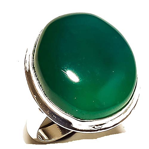 Shivi Spouse's! Ring Size 8.5 US (Sizeable)! Green Botswana Agate! Sterling Silver Plated Handmade! Jewelry from