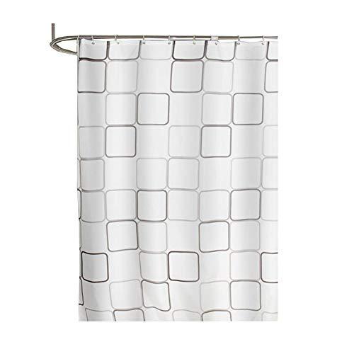 GUOCU Einfacher Quadratischer Duschvorhang mit Haken für Badezimmer Anti-Bakteriell Schimmel Resistent Wasserdicht Nachhaltig Waschbar Quadrat 100 * 180 cm