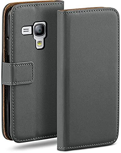 MoEx Cover a Libretto Compatibile con Samsung Galaxy S3 Mini   Fessura Carta + Soldi, Supporto, Grigio Scuro