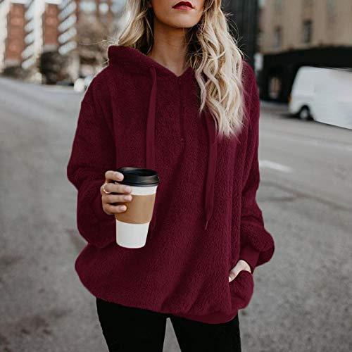 Moda Sudaderas Jersey Sweater Sudaderas con Capucha para Mujer, Ropa Cálida Y Esponjosa, Jerséis con Cordón para Mujer, Abrigo Informal con Capucha, S Winered