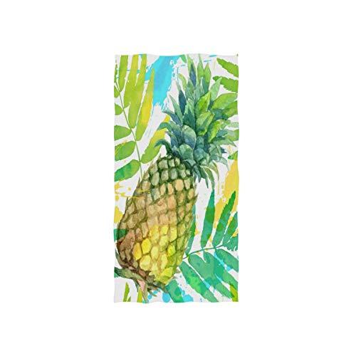 NBHBVGFC Toalla de baño tropical con hojas de palmera de piña para verano, suave para hotel, spa, gimnasio, deporte, 76,2 x 38,8 cm