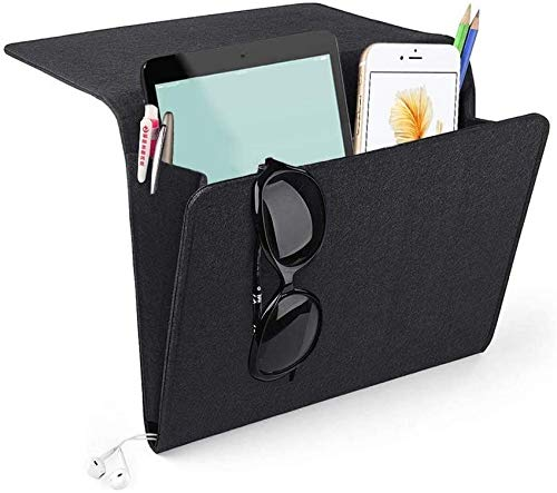Evedaily Felt Bedside Caddy with Two Pockets Inside and Side Charging Cable Hole for Phone, iPad, Book, Pen, Glass, Remote, Toys 24x27x8cm(Black)
