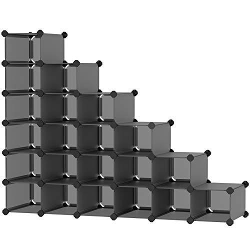 SONGMICS Shoe Rack 21-Cube Plastic Shoe Storage Organizer Unit Modular Cabinet Space Saving for Entryway Hallway Living Room Bathroom 531 x 142 x 413 Inches Gray ULPC046G01