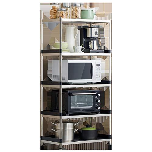 RATIO Edelstahl-Küchenregal, Stand-Mehrschichtregal, Mehrschicht-Topfregal zur Aufbewahrung von Essig mit Öl- und Salzsauce, Wasserkocher, Dampfgarer, Suppentopf, Mikrowelle, Backofen
