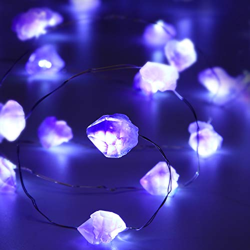 Purple Amethyst String Light 10ft 40 LEDs Crystal Stone Fluorite, Battery Powered with 12 Modes, Remote and Timer Decor for Wedding Birthday Party Holiday Festive Home Bedroom Garden