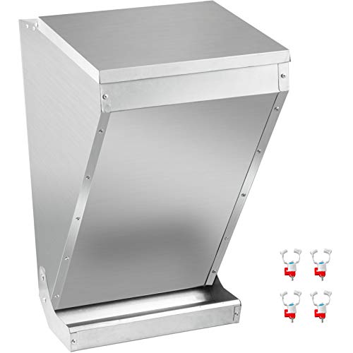 VEVOR Galvanized Poultry Feeder Holds 75 lbs of Feed Chicken Feeders No Waste 16.9x14.9x27.5 in Rat Proof Hanging Chicken Feeder with Lid Weatherproof Outdoor Coop Food Dispenser for Duck