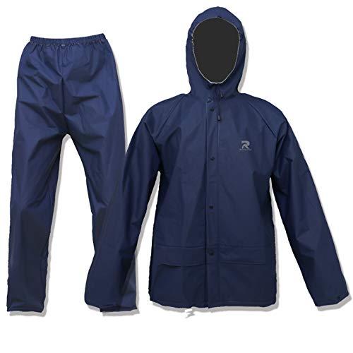 Rain Suit for Men Women Waterproof Ultra-Lite Rain Coat with Pants Reusalbe Portable(Navy,Large)