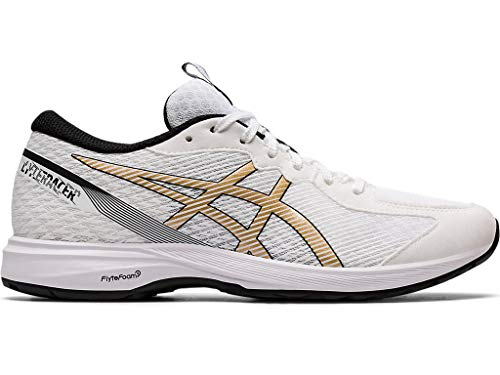 ASICS Women's Lyteracer 2 Running Shoes, 9M, White/Pure Gold