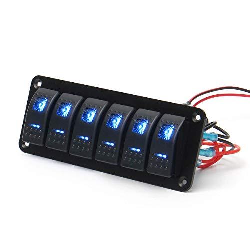 LICHONGUI Panel de interruptores de la Barra de luz LED Dual de 12V 24V 6 para caravanas Marine Boat RV (Color : Blue)
