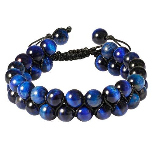 SUNYIK 8mm Round Blue Tiger's Eye Stone Adjustable Bracelet for Unisex, Double Layers Beads Macrame Friendship Bracelets, 7'-10' Strand