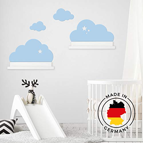 Wandtattoo Wolken in blau mit Sterne für IKEA Regalbrett Ribba/Mosslanda 55 cm Bilderleiste für Babyzimmer Kinderzimmer – Aufkleber für Wand Tapete