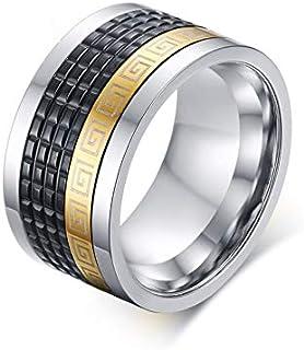 خاتم رجالي من الصلب خاتم ذهبي شعبي خاتم أسود مجوهرات دوارة من الفولاذ المقاوم للصدأ