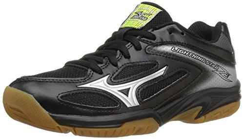 Mizuno Unisex-Kid's Lightning Star Z3 Junior Youth Volleyball Shoes, Black/Silver, 4 2A US Big Kid