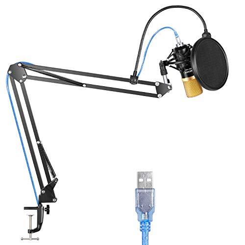 Neewer Professionelles NW-7000 USB Studio Kondensatormikrofon und NW-35 Scheerenauslegerarm Stativ mit Schock Mount und Tischbefestigungsklammer Set für Rundfunk und Tonaufnahme (Schwarz und Gold)