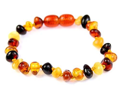 SilverAmber New Baltic Amber Anklet Bracelet MIX - Handmade 100% Genuine Amber Beads - Premium Quality - Sizes 15 CM