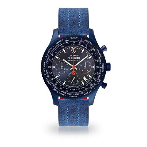 DETOMASO Firenze XXL All Blue Limited Edition Herren-Armbanduhr Chronograph Analog Quarz Blaues Edelstahl-Gehäuse Blaues Zifferblatt