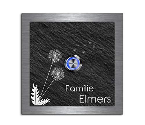 Edle Türklingel mit Gravur und LED-Klingelknopf und über 100 Motive personalisierbar 12x12 cm | Modell: Elmers-e | gravierte Klingel aus Schiefer und Edelstahl Klingelschild Klingelplatte beschriftet