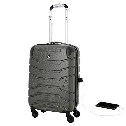 Aerolite Maleta SMART con Puerto USB para Cargar el Teléfono, ABS Equipaje de Mano Cabina Rígida Ligera con 4 Ruedas, Aprobado para Ryanair,Iberia y muchas más (Gris Oscuro)