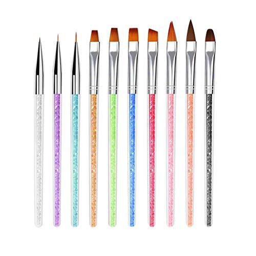 TWDYC 10pcs Hook Line Drawing Paint Brush Nail Art Pens Drill Handle Nail Line Brush Gouache Painting Brush Set Art Supplies A35