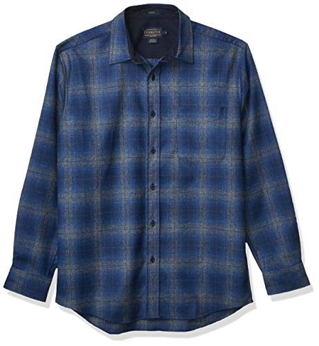 Photo of Pendleton Men's Long Sleeve Button Front Classic Lodge Shirt, Blue/Navy/Grey Ombre, XXL