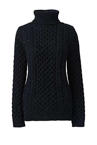 Lands' End Womens Cozy-Lofty Cable Turtleneck Sweater Black Donegal Regular X-Large