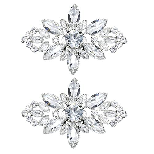 VALICLUD 2 hebillas de metal brillante para zapatos de boda, flor de...