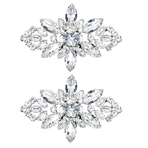 VALICLUD 2 hebillas de metal brillante para zapatos de boda, flor de cristal, para fiesta