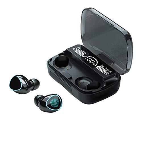 Fones de ouvido, fones de ouvido sem fio Bluetooth de toque na orelha Fones de ouvido estéreo esportivos Fones de ouvido com redução de ruído embutidos LED digital mostra carga de carregamento (edição de luxo)