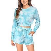 Beyove Women's 2 Piece Tie Dye Long Sleeve Top and Shorts Set (Large)