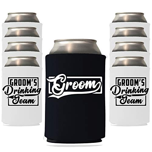 Veracco Groom and Groom's Drinking Team Can Coolie Holder Bachelor Party Wedding Favors Gift For Groom Groomsmans Proposal (6, Blk Groom, Wht DT)