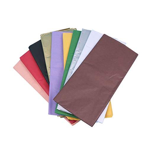 STOBOK 100 Fogli di Carta velina Colorata Sottile Carta velina Carta da imballaggio per Forniture per Feste favori Confezione Regalo (Come Mostrato 10 Fogli per Ogni Colore)