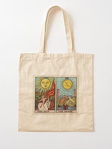 Générique Moon Sun Tarot and | Sacs d'épicerie de Toile Sacs fourre-Tout avec poignées Sacs à provisions en Coton Durable