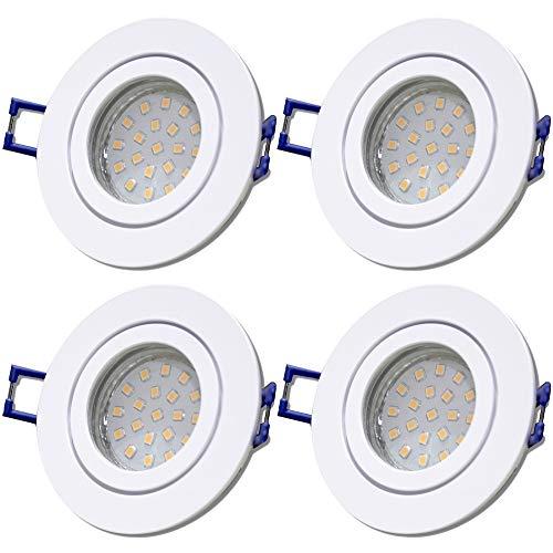 LED Bad Einbauleuchten 12V inkl. 4 x 5W SMD LM Farbe Weiß IP44 LED Einbauspots Neptun Rund 3000K Deckenleuchten