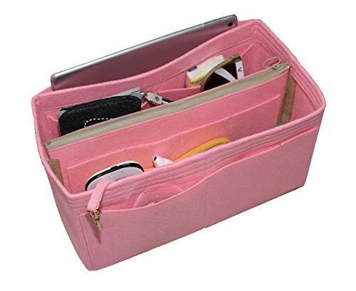 [Passt Artsy MM, Pink] Felt Organizer (mit abnehmbaren mittleren Zipper Bag), Tasche in Tasche, Wolle Geldbörse einfügen, individuelle Tote organisieren, Kosmetik Make-up Windel Handtasche