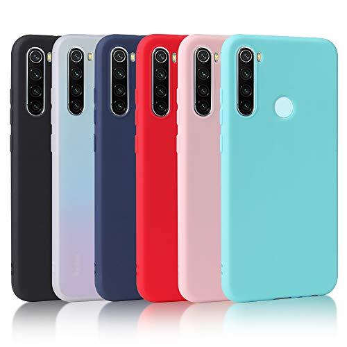 Oureidoo [6 Stücke] Xiaomi Redmi Note 8T Hülle, Handyhülle für Xiaomi Redmi Note 8T, Handy Hülle in Schwarz + Transparent + Blau + Rot + Rosa + Minzgrün