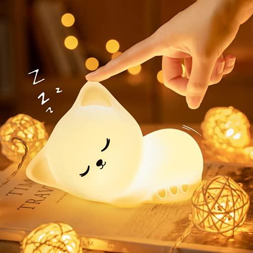 LED Nachtlicht Kinder, Kawaii Katze Nachttischlampe Baby Babyzimmer Stilllicht Deko, Dimmbar USB Silikon Touch Schlaflicht,Warme Cute Bed Wiederaufladbar Night Kinderlampe als Einschlafhilfe Geschenk