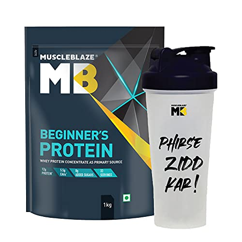 MuscleBlaze Beginner's Whey Protein Supplement (Chocolate, 1 kg / 2.2 lb, 33 Servings) with Shaker, 650 ml (Combo Pack)