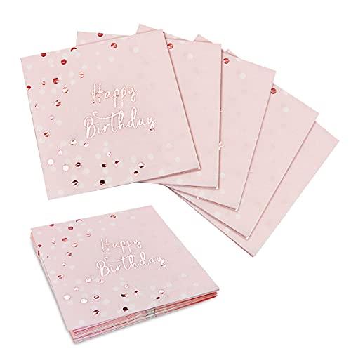 Mitening Happy Birthday Servietten Geburtstag Mädchen Deko Geburtstag Mädchen Geburtstagsservietten Mädchen Servietten Rosegold Tischdeko Geburtstag Hochwertige Papierservietten Rosa 16 Pcs