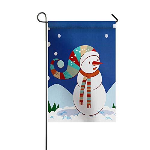 Gartenfahne Haus Banner dekorative Flagge Home Outdoor Valentinstag, Schneemann mit Schal und Weihnachtsmütze im Schnee Bild Willkommen Urlaub Hof Flagge 12 x 18 Zoll