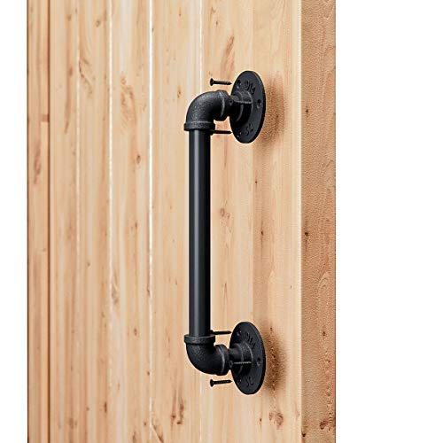 "SMARTSTANDARD 11"" Pipe Barn Door Handle, Black Rustic Industrial Grab Bar, Towel Bar, Handrail and Pull for Stairs, Gate, Garage"