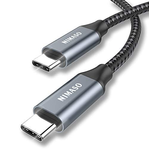 Nimaso USB C auf USB C Kabel 3M, USB Typ C 100W 20V/5A PD Schnellladekabel mit E-Mark Chip Ladekabel Datenkabel für MacBook,MacBook Pro,iPad Pro 2020,2018,MacBook Air, ChromeBook Pixel,Galaxy S20/S10