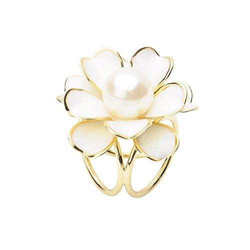 Blumen Schalring Tuchring Tuchhalter Tuchclip Tuchbrosche Scarf Clip - Weiß