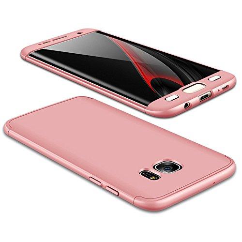 JMGoodstore Funda Galaxy S7 Edge,Carcasa Samsung S7 Edge,Funda 360 Grados Integral para Ambas Caras+Cristal Templado,[ 360°] 3 in 1 Slim Fit Dactilares Protectora Skin Caso Carcasa Cover Rose Oro