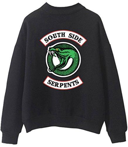 OLIPHEE Felpe Girocollo Felpe Sportive Maglione Vintage Collo Alto con Logo Figata per Uomo e Ragazzi Nero-2 Small