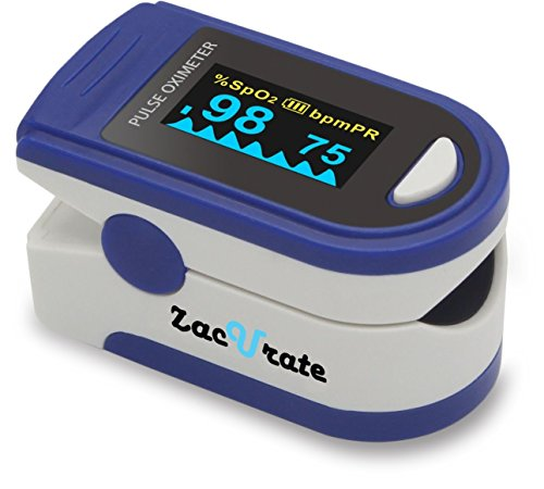 Zacurate Pro Series CMS 500D Deluxe Fingertip Pulse Oximeter Blood Oxygen Saturation Monitor with Silicon Cover, Batteries and Lanyard, Sapphire Blue