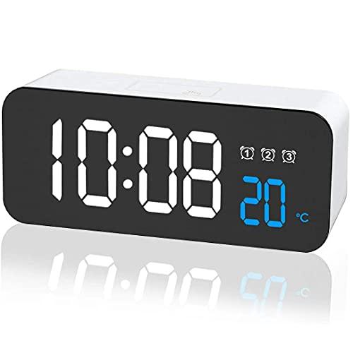 FGART Versión De Batería Reloj LED Reloj Electrónico Multifunción Recargable Pantalla De Temperatura del Reloj Despertador Multigrupo