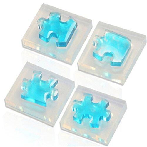 LnLyin 4 PCS/Set Puzzle Stück Edelstein Form DIY Schmuck Werkzeuge Epoxidharz Kristall Anhänger Transparent Epoxy Silikonform